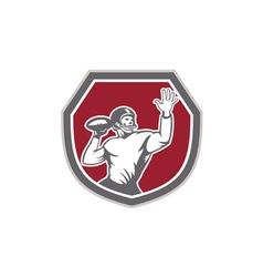American Football Quarterback Throw Ball Shield vector image vector image