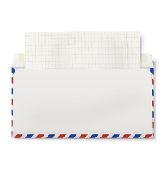 Backside of opened dl air mail envelope vector