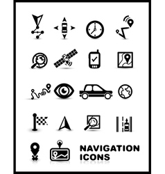 Black navigation icon set vector image