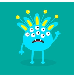 Blue monster with ears fang tooth and horns funny vector