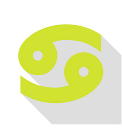 Cancer sign pear icon with flat vector