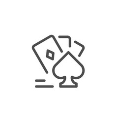 card games line icon vector image