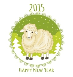 Card with green snowflake and little cute sheep vector