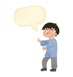 Cartoon man gesturing with speech bubble vector