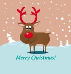 christmas deer rudolf vector image vector image