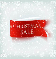 christmas sale red realistic paper banner on vector image