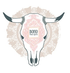 Cow skull with ornament isolated on mandala vector