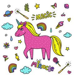 Cute handdrawn unicorn pink unicorn and magic vector