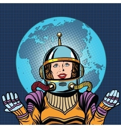 Female astronaut symbol of life on planet Earth vector image vector image