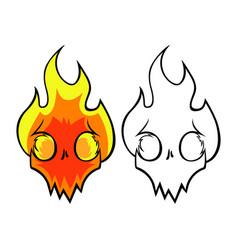 flaming skull vector image