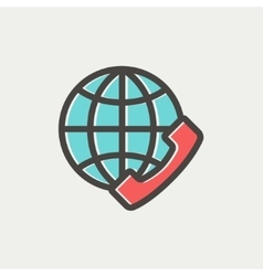 Global internet shopping thin line icon vector