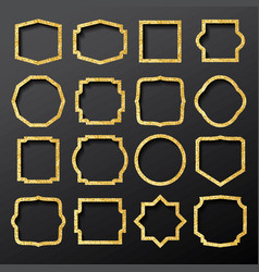 golden frames set with glitter texture vector image