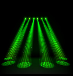 green spotlights on dark background vector image vector image