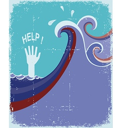 hand of drowning in blue sea waves vector image
