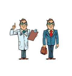 Happy doctor with glasses and a businessman vector