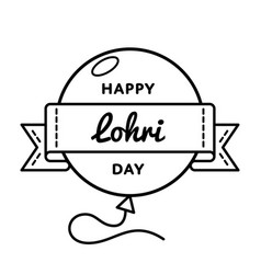 happy lohri day greeting emblem vector image