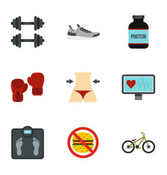 Healthy lifestyle icons set flat style vector