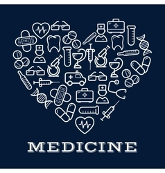 Icons of healthcare or medicine equipment as heart vector image vector image