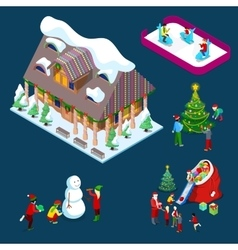 Isometric Christmas Decorated House vector image vector image