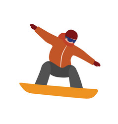 Isometric isolated man snowboarder urban vector