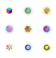 Loading and waiting icons set pop-art style vector