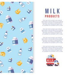 milk production poster template - farm dairy vector image