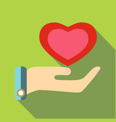 pink heart in hand icon flat style vector image vector image