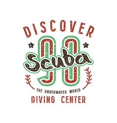 Scuba diving emblem in retro style vector