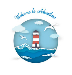 Sea postcard welcome to adventure style paper art vector