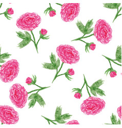 Seamless floral pattern with of watercolor peony vector
