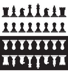 Set of black and white chess pieces eps10 vector