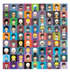 Set of people icons in flat style with faces 13 b vector