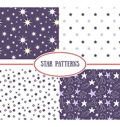 Set of star seamless patterns vector image vector image