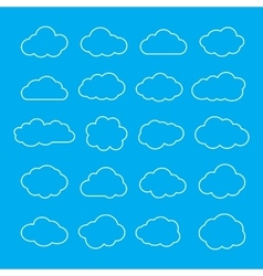 Set of thin line clouds icons cloud shapes vector