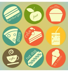 set of Vintage Food round Labels vector image vector image