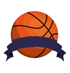 Silhouette color with basketball ball and ribbon vector