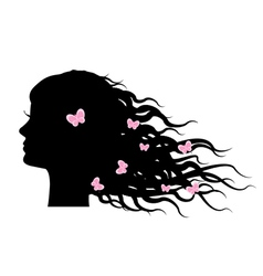 Silhouette of girl with butterflies in hair vector