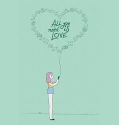 Social media love concept design of girl on phone vector