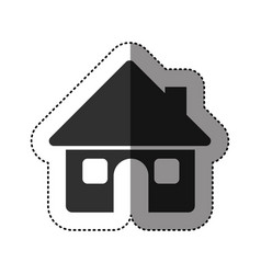 sticker of black silhouette of house with two vector image vector image