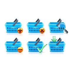 supermarket shopping baskets vector image