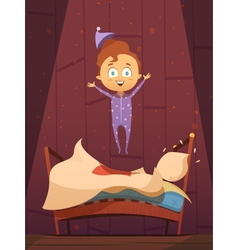 Unruly kid in pajamas jumping on unmade bed vector