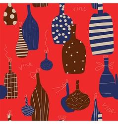 Wine bottle seamless funny design vector image