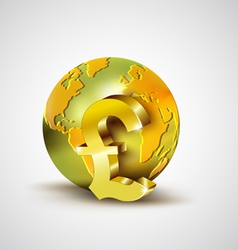 World economic concept with gold world and pound vector