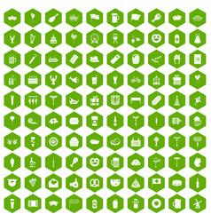 100 beer party icons hexagon green vector