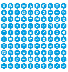 100 journey icons set blue vector