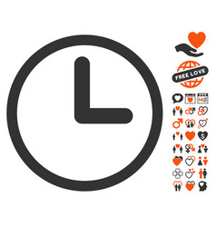 Clock icon with love bonus vector