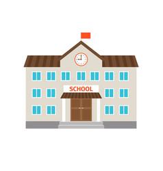 school flat building icon vector image