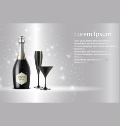 Black wine bottle with black wine glass on sparks vector