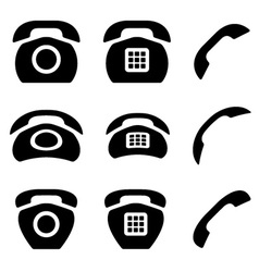 Black old phone and receiver icons vector