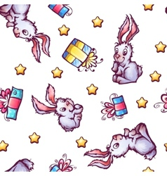 Seamless pattern with cartoon rabbits and vector